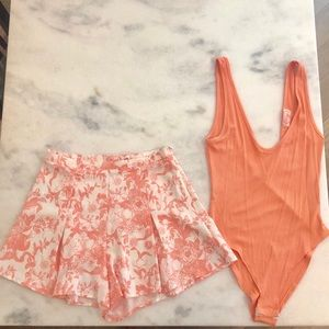 Blush Shorts - Blush Boutique Floral Shorts and Peach Bodysuit